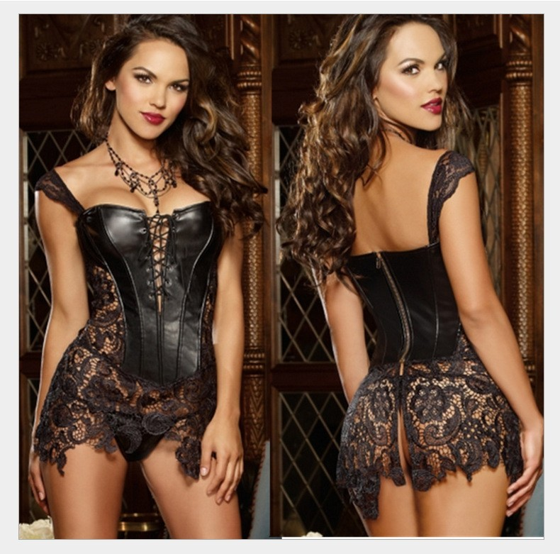 Sexy Black Faux Leather Corset - Bustier S-6XL Plus Size